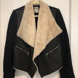 Zara Faux Fur Suede & Wool Jacket